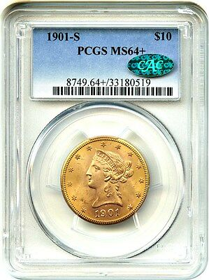 1901-S $10 PCGS/CAC MS64+ Frosty Type Coin - Liberty Eagle - Gold Coin