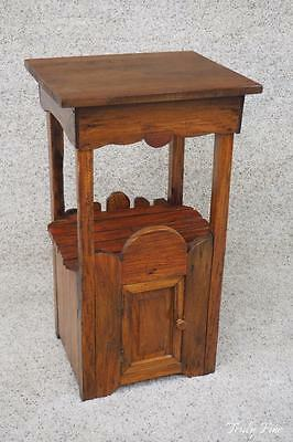 Teak Primitive Artisan Crafted Missian Styled End Side Table Nighstand