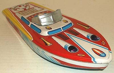 """1960s ST Japan TIN LITHO 12"""" SPEED BOAT tub beach pool toy FLOATS NOS dime store"""