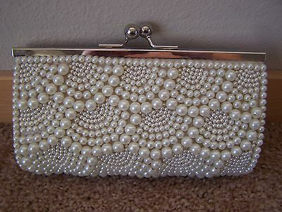 Wedding Bridal Party Evening Ivory Pearl Clutch and Six Ivory Pearl Hair Pins