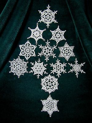 12 Hand Crocheted Christmas Snowflake Ornaments. New!  Awesome Usa Made Quality!