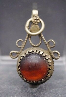 Superb Antique Post Medieval Silver Islamic Pendant With Glass Insert
