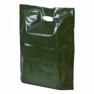 100 Green Plastic Shopping Retail Carrier Bags 15 x 18 x 3 Inch Patch Handle