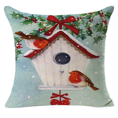 Christmas Linen Square Throw Flax Pillow Case Decorative Cushion Pillow Cover UK