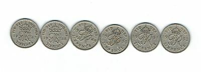 1947-1952 George VI British UK Sixpence Coins (Complete set of all 6 coins)