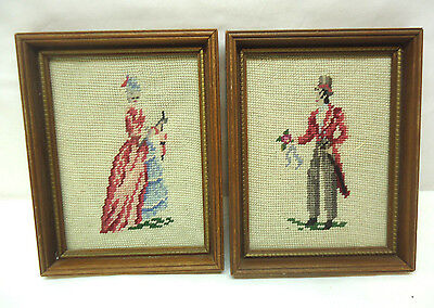 Pair of Needlepoint Petit Point Framed Pictures Courting Couple Vintage Set