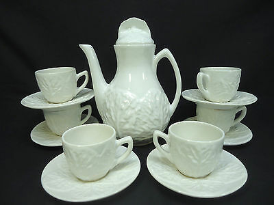 Portugal Pottery Secla Espresso Coffee Pot with Cups & Saucers Set White Cabbage