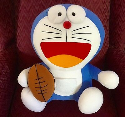 "Giant 16"" Doraemon & Football Fujiko Pro Japan Anime Plush Stuffed Soft Toy 2002"