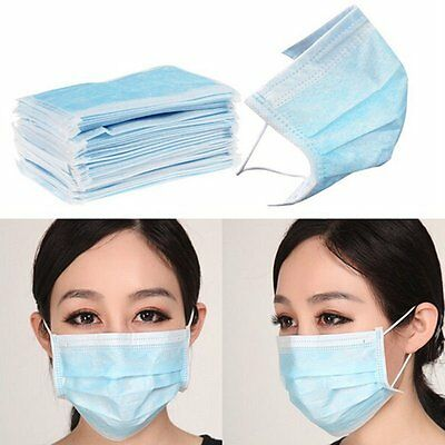 50p Surgical Face Mask Dental Medical Doctor Disposable Dust Filter Mouth Cover