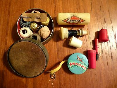 Antique Sewing Kit Thimble Thread Needle Case Pin Cushion Tape Measure Germany