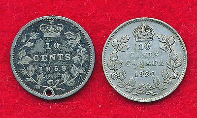 Canada 1858 & 1920 10 CENTS (2 Coins)  SILVER!