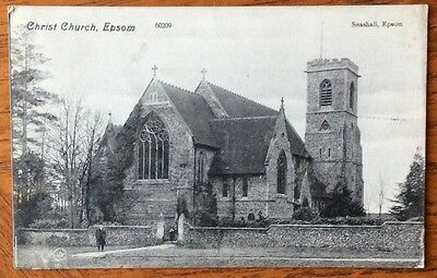 Old Sepia Postcard,  Christ Church, Snashall, Epsom, Surrey, Posted 1909.