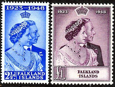 Falkland Islands, Set Of 2, Silver Wedding, Sg166 - 67, Mounted Mint, 1948