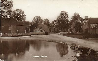 "OLD REAL PHOTO POSTCARD ""MARSH GIBBON"" BUCKINGHAMSHIRE Posted 1922"