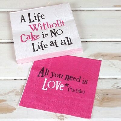 A LIFE WITHOUT CAKE Paper Napkins 30cm square Pink white New