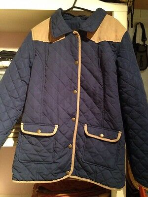 girls jacket riding style fleece lined navy and beige 12-13yrs