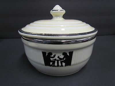 Vintage Hall SILHOUETTE TAVERN Round Medallion Utility / Grease Covered Jar