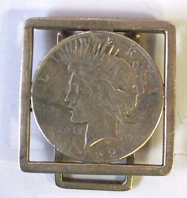 Vintage Sterling Silver Money Clip with US Silver Peace Dollar 1922