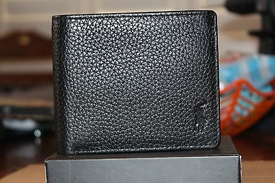 Ralph Lauren Black Leather Wallet Pebbled Design Bnib Ideal For Xmas