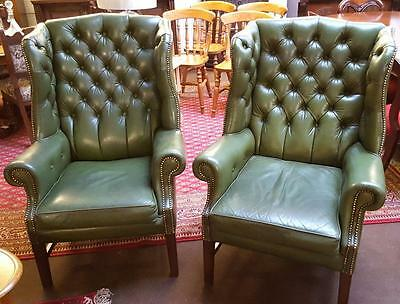 Pair Of Green Leather Chesterfield Club Style Armchairs