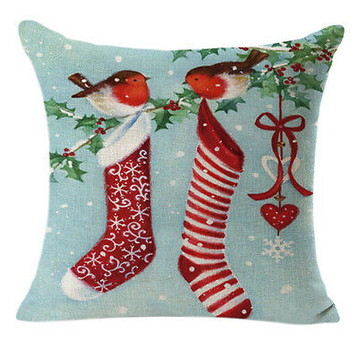 Christmas Linen Square Throw Flax Pillow Case Cushion Pillow Cover Home Decor