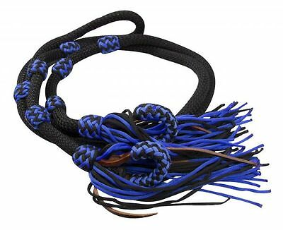 Showman BLUE/BLACK 8' Braided Nylon Western Barrel Rein w/ Fringe NEW HORSE TACK