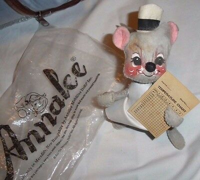 "Vintage 1965 Annalee Nurse Mouse  7"" tall Chart is yellowed"