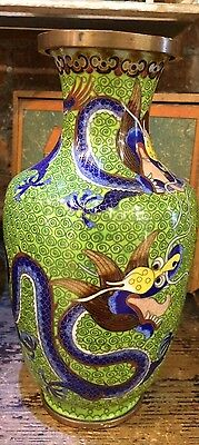 Vintage Chinese Cloisonne Vase with Dragons