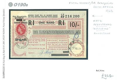 DBO190b 1962 SOUTH AFRICA British Postal Order QEII R1/10s GB Overprint*Korsten*