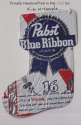Lg Stocking Handmade Christmas Ornament Recycled Aluminum PBR Beer Can