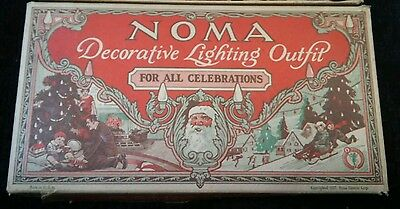 Vintage Christmas Noma Light Set in Original Box with Mazda Lamps Copyright 1927