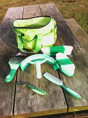 Neon green 6 piece palm grip horse grooming kit w/caddy/tote