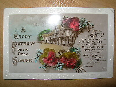 Vintage Postcard A Happy Birthday To My Dear Sister - Floral Cottage  5