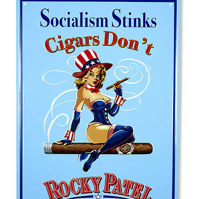 "Large Rocky Patel  (Socialism Stinks) Advertising Sign ""Great Man Cave Item"""