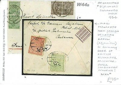 DBW44b 1924 AFGHANISTAN INDIA Mixed *German Legation* Kabul Forwarded Peshawar