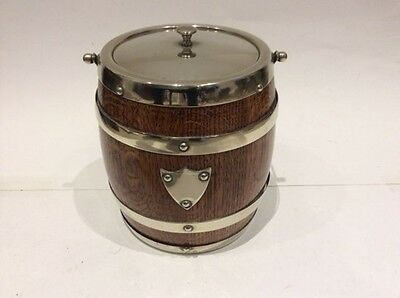 Antique Biscuit Barrel Ice or Bucket - Oak and Silver Plate = Supper Quality