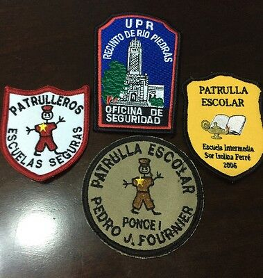 Puerto Rico Police Patch...four Different School Patrol