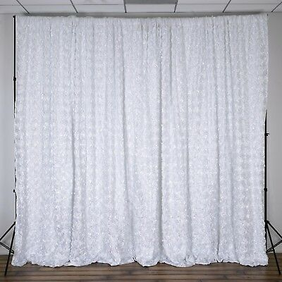 WHITE RIBBON ROSES BACKDROP 20 10 ft Stage Party Wedding Booth Decorations
