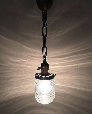 "19"" Brass Pendant Light Glass Globe Turnkey Socket Antique Vintage Lighting USA"
