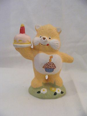 Vintage Care Bear Figurine - Yellow Bear with Cupcake