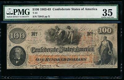 AC T-41 $100 1862 Confederate Currency CSA PMG 35 slaves hoeing cotton