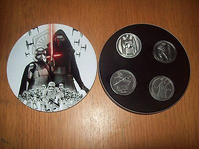Star Wars the Force Awakens tin set of medallions / coins official