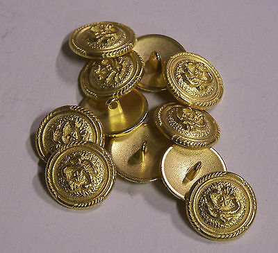 8pc 20mm Snake and Sheild Gold Metal Military Blazer Button   2095