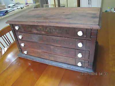 4 Drawer Walnut Spool Thread Cabinet For Jewelry, Hardware, Coins, Etc