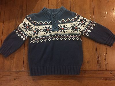 BABY GAP Toddler Boys Blue & White Snowflake 100% Cotton Sweater 18-24 Months