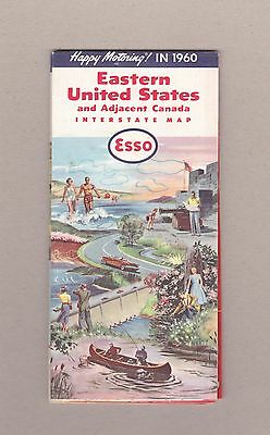 1960 Esso Eastern United States and Adjacent Canada Interstate Vintage Road Map