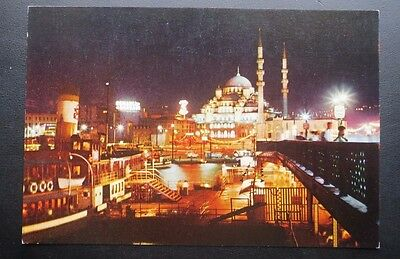 Vintage Postcard Istanbul and Wonders, New Mosque  (1663) by night