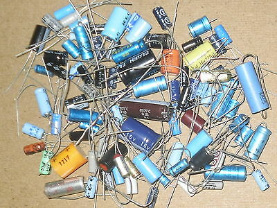 Radio/Electronics/Amplifier.  80 Gms Small Electrolytic Capacitors. Mixed.  NOS.