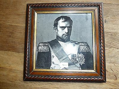 Pottery Tile With Black & White Print Of Napoleon In A 23.4Cm Square Wood Frame