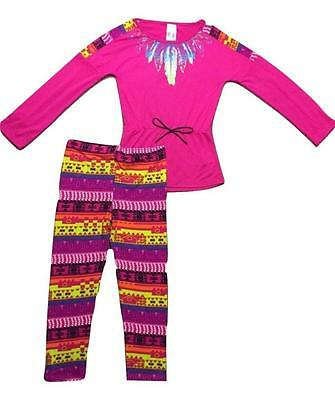 NEW set 2pc size 6X girls kids PINK FEATHERS CUTE OUTFIT LEGGINGS PANTS & SHIRT